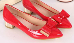 Wholesale Small Heels Women Shoes - 2016 leather rough with small code 313233 pointed shoes red wedding shoes metal bow