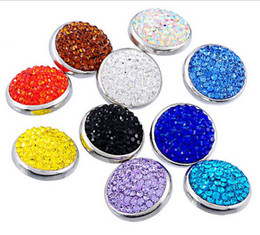 Wholesale Polymer Clay Bracelets - Mixed color crystal crystal noosa clasp bracelets The circular alloy pendant polymer clay buttons ginger snaps 50pcs FF