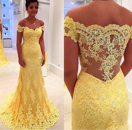 Wholesale Mermaid Prom Dresses Real Sample - Real Sample Yellow Lace Mermaid Evening Dress Vestidos 2016 Hot Sale Off Shoulder Lace Applique Prom Dress Elegant Party Dress