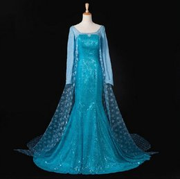 Wholesale Top Female Gown Dresses - TOP quality Adult & Children Elsa Ball Gowns Snow Queen Costume Princess Elsa Cosplay Dress For Kids & Adult Custom Any Size