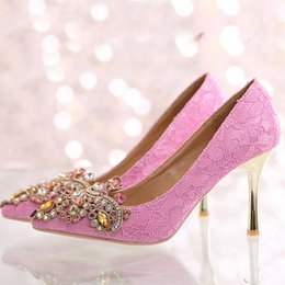 Wholesale Pink Rhinestone Sandals - 2016 New Design Pointed Toe Lace Wedding Party Shoes Satin Crystal High-heeled Bridal Shoes Beautiful Sandals Bridesmaid Shoes