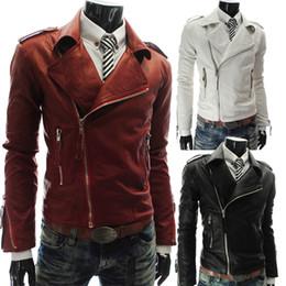 Wholesale Men Leather Jacket Diagonal Zipper - new men's jackets , personalized pu leather multi- zip men's lapel short paragraph Slim leather, diagonal zipper pamphlets white coat