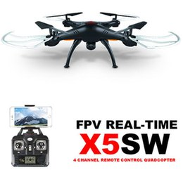 Wholesale toy rotor - 100% Original SYMA X5SW WIFI RC Drone FPV Helicopter Quadcopter with HD Camera 2.4G 6-Axis Real Time RC Helicopter Toy Free Shipping