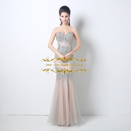 Wholesale Runway Designers - 2015 Real Model Evening Dresses Sweetheart Neckline Beads Sequins Mermaid Prom Gowns Tulle Fashion Formal Occasion Designer Dress FG124
