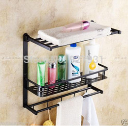 Wholesale Towel Rod Hooks - Wholesale And Retail Oil Rubbed Bronze Finish Luxury Multifunctions Bathroom Storage Rack Bath Towel Shelf Towel Rod Towel Hooks 1001#01