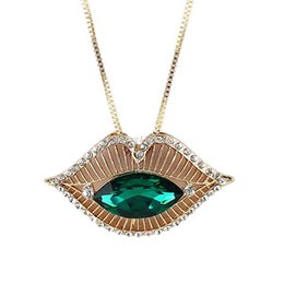 Wholesale Lip Necklace Jewelry - Necklaces Female Lip Shape Cute Imitation Gemstone Jewelry Collares Necklace For Women Wholesale