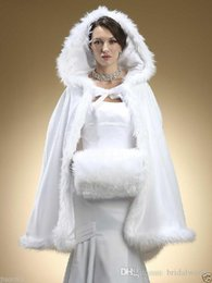 Wholesale Hooded Wedding Dresses - Faux Fur Shawl with Muff Winter Bridal Cape Christmas Cloaks Jackets Hooded Perfect For Winter Wedding Bridal Wraps Abaya Wedding Dresses