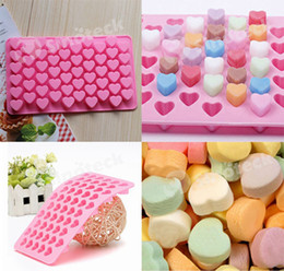 Wholesale Silicone Heart Shaped Chocolate Mould - Heart Shape Mould Silicone 55 Heart Cake Chocolate Cookies Ice Cube Jelly Baking Mould Tray Free DHL Factory Direct
