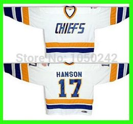Discount chiefs hockey - Hanson #17 Home jersey White Slapshot brothers Charlestown CHIEFS - Customized Jersey With Any Number, Any Name Sewn On (S-4XL)