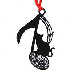 Wholesale Music Gifts For Wedding - 25pcs Stainless Steel Black Music Symbol Cat Bookmark Book card For Wedding Baby Shower Party Birthday Favor Gift Souvenirs