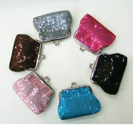 Wholesale Fabric Business Cards - new fashion silvery mini women girl paillette Coin purse money wallet burse coin purse. mix color