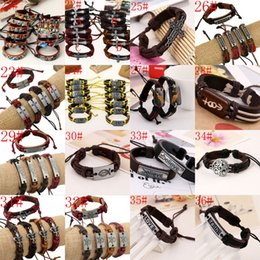 Wholesale Scripture Charms - Hot sale mixed styles Fashion Cross Scripture Bracelet Leather Alloy Handmade Retro Jewelry Charm Rope Bracelets