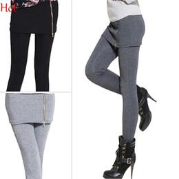 Wholesale Ankle Length Skirted Leggings - Top Hot Leggings Women False Two Pieces Stretch Legging With Mini Skirt Zipper Leggins Fitted Slim Pants Casual Leggings Grey Black SV008451