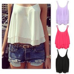 Wholesale Solid Chiffon Blouse Sleeveless - New 2016 New Summer Sleeveless Spaghetti Strap Casual Tops Sexy Double Layer Chiffon Women Blouse Shirts