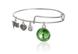 Wholesale Alex Ani Set - 2015 New Birthstone Crystal Pendant of Birthstone Alex and Ani Charm Wiring Bracelet expandable bangles