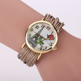 Wholesale Eiffel Tower Jewelry Bracelet - New Arrive Summer Style Fashion Eiffel Tower Casual Bracelet Wristwatch rose flower Women Dress Watches Big Dial Wrist Watch XR1294
