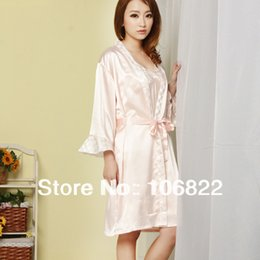 Wholesale Skirt Nighty Dress - FG1509 Women Imtated Silk Sleepwear Dress Nightgown Night Skirt Nighty Pajamas Two-piece