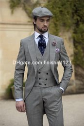 Wholesale Dark Gray Suit Mens - Morning Style One Button Pure Light Grey Groom Tuxedos Peak Lapel Groomsmen Best Man Mens Wedding Suits (Jacket+Pants+Vest+Tie) G954
