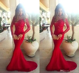 Wholesale Top Arabic Fashion Dress - 2016 Arabic Style New Red Mermaid Evening Dresses Sheer Crew Neck Winter Long Sleeves Lace Top Satin Floor Length Party Evening Dresses