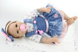 Wholesale Touch Dolls Toys - 22 inch 55cm silicone-reborn-babies dolls Soft touch Girls Christmas Gift Baby Toys Birthday Gifts Juguetes LifeLike Play Doll