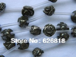 Wholesale Rose Carved Bead - Wholesale findings 1strand=20pcs 10mm pyrite carved rose flower chunky beads cabochon