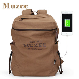 Wholesale Pocket Books - Muzee New Men Backpack Canvas Backpack Bags College Student Book Bag Large Capacity Fashion Backpack 15.6inch Laptop Bag