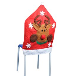 Wholesale Party Supplies Chair Covers - Beautiful Christmas Chair Covers Craft Art Red Christmas Seat Caps Cover Festive Party Decoration SD712 Online