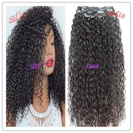 Wholesale 26 Remy Human Hair Clip - new style Mongolian virgin jerry curly hair weft clip in hair extensions unprocessed curly natural black color human extensions can be dyed