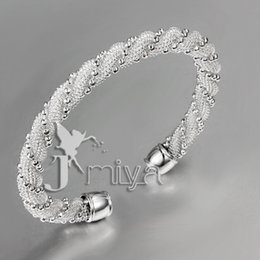 Wholesale Sterling Silver Twisted Wire Bracelet - drop shipping 10pcs lot Christmas gift 2016 Girls delicate bracelets Twisted bead wire mesh bracelet 925 silver bracelet