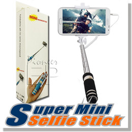 Wholesale Extendable Handheld - NEW Foldable Super Mini Wired Selfie Stick Handheld Extendable Monopod wired shutter Handle Compatible with cell phone