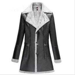 Wholesale Ladies Leather Suits - 2017 new plus velvet thick winter coats long high quality PU leather jacket ladies suit collar Women's clothing fashion coats