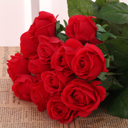 Wholesale Silk Mirrors - Artificial flower Rose Flowers Silk rose Artificial Flowers Home decorations for Wedding Party Birthday room 7 colors for choose