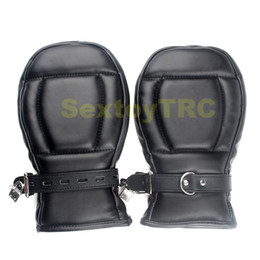 Wholesale Bondage Gear Fetish - Fetish Bondage Gimp Dog Paws Lockable Mitts Locking Dog Palm Cuffs Black Red BDSM Gear Puppy Slave Play Costume Hands Restraint Gloves
