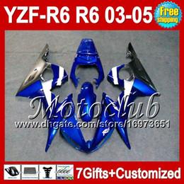 Wholesale R6 Body Kits - Blue black not grey 7gifts+Body For YAMAHA YZFR6 03 04 05 YZF-R6 03-05 YZF-600 C9371 YZF600 YZF R6 YZF 600 2003 2004 2005 Fairing Kit blue
