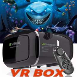 Wholesale Android Video Games - VR BOX Game Controller Head-mounted Google Virtual Reality 3D Headset Video Movie Game Glasses For iPhone Samsung Smart Phone With Package