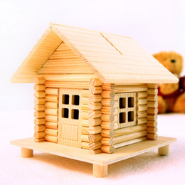 Wholesale Diy Money Saving Box - Wood House Piggy Bank Chalet Model 68 parts diy hut model money box assembled toy cabins Saving Box New Year gifts
