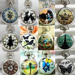 Wholesale Pocket Watch Alice - Wholesale Ceramic Alice in Wonderland Eiffel Tower watch Necklace Mirror Pocket watch , 12pcs lot , Dia 2.9cm. APW006,dandys