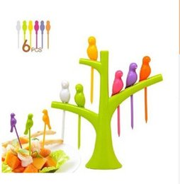 Wholesale Bird Tree Stands - New Creative Tree+Birds Design Plastic Fruit Forks 1 Stand+6 Forks Hot Sale Kitchen accessories free shipping