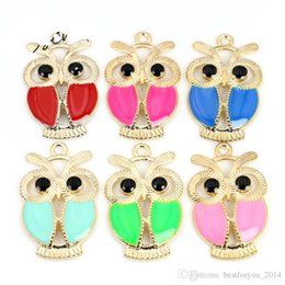Wholesale Enamel Owl - Mixed Colors Rose Golden Plated Enamel Owl Charms Pendants for Pandora Bracelet Jewelry Making DIY Accessories Handmade 6styles