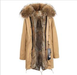 Collar de conejo desmontable online-Jazzevar marca marrón cuello de piel de mapache forro de piel de conejo marrón Caqui larga parka mujer abrigos abrigos pieles chaquetas de mujer Liner desmontable