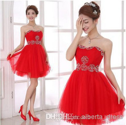 Wholesale Hot Pink Modest Prom Dress - 2015 Mini Party Dresses simple modest red tulle sweetheart backless short knee length homecoming dresses new design prom party hot sale