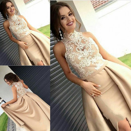 Wholesale Lace Occasion Dresses - 2018 Newest High Neck Satin Prom Dresses Appliques Sweep Train Formal Evening Dresses Middle East Prom Gowns Special Occasion Dresses
