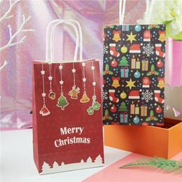2019 documenti di supporto natale Regali di Natale indietro sacchetto di regalo Regalo di Natale pupazzo di neve Regali di Natale borsa colorata JOY sacchetto di carta regalo di imballaggio a mano portare caramelle borse documenti di supporto natale economici