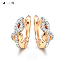 Wholesale Hoop Earrings Gold Twisted - Wholesale- GULICX Brand Twisted Swirl Hoop Earring for Women Gold-color Earing Crystal Cubic Zirconia Engagement Jewelry E239