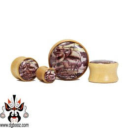 Wholesale Tunnels 24mm - 2015 hot sale fashion wooden guage Wholesale beautiful crok brown wood ear plugs and tunnels piercing Body Jewelry size 8-24mm.