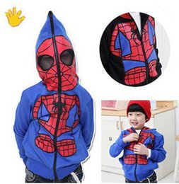 Wholesale Kids Hooded Sweaters - New Children's outwear jacket kids Spiderman coat Jacket Looped fabric Sweater Size 90-130CM B001