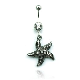 Wholesale Wholesale Jewelry Bells Charms Animals - Body Jewelry Fashion Belly Button Ring Stainless Steel Dangle Retro Starfish Charms Navel Rings Piercing Jewelry