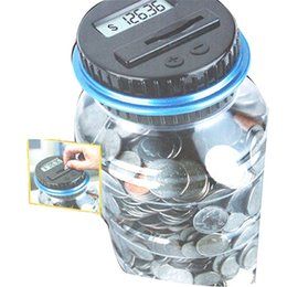 Wholesale Black Save - New Creative Digital Money Box Electronic USD Coin Counter Piggy Bank Money Saving Jar Gift With LCD Screen Free Shipping