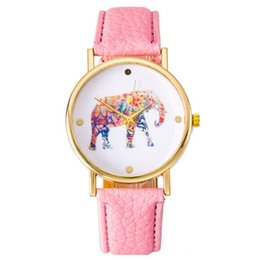 Wholesale National Wind Watch - 2015 New Couples Fashion National Wind Elephant Casual Leather Strap Wrist Watch Dresses Watch Quartz Watch 11 Colors Cheap Watches 348
