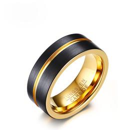 nussteller Rabatt Hohe Qualität Fashon Herren Ringe 8 MM Breite Matt Gold Überzogene Nut Schwarz Wolframkarbid Ring US Größe 8-12